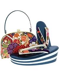 [ 京都きもの町 ] 振袖 草履バッグセット 青色 毬 吉祥草花 Lサイズ 成人式 四枚芯 フォーマル 和装バッグ