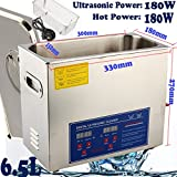 Digital Ultrasonic Cleaner, Large Capacity Stainless Steel with Heater and Digital Timer for Electronic Tool Jewelry Watch Glasses Rings (6.5L)