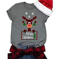 GHdggk Womens Christmas T Shirts Casual Short Sleeve Cute Elk Graphic Tops Tees