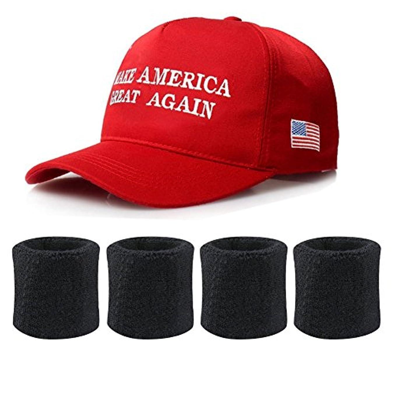 外交問題思慮のない時々時々DINGJIN ドナルド?トランプ 帽子 1ピース アメリカを再び偉大にする 刺繍入り ベースボールキャップ 帽子 2ペア ブラック スウェットバンド リストバンド アウトドアスポーツ用