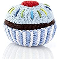 Pebble Fair Trade Hand Made Rattle - Cupcake with Light Blue Icing and a Cherry [並行輸入品]
