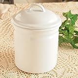 キッチン雑貨 コーヒー ホーロー キャニスター 缶 S ホワイト