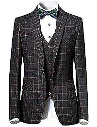 CEEN イギリス風メンズスーツ チェック柄 スタイリッシュ 一つボタン スリーピース 洗練 スリム 3ピース オシャレ フォーマル 就職 リクルート 紳士服