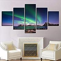 Xueshao モジュラーキャンバスHd写真ウォールアートフレームワーク5個オーロラポスター雪山極地方絵画子供部屋の装飾-30X40Cmx2 30X60Cmx2 30X80Cmx1