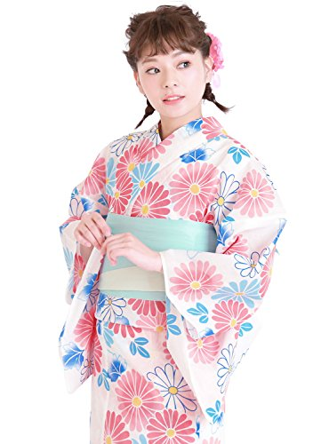 (ソウビエン)浴衣レディースセット15タイプから浴衣が選べる浴衣3点セットfb05A05白地×カラフルマーガレット