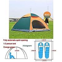 自動ポップアップアウトドアファミリーキャンプのテント1つの2 3 4人複数モデルイージーオープンキャンプテントウルトラライトインスタントシェード ZASUBC (Color : Green Orange 1 2 man)