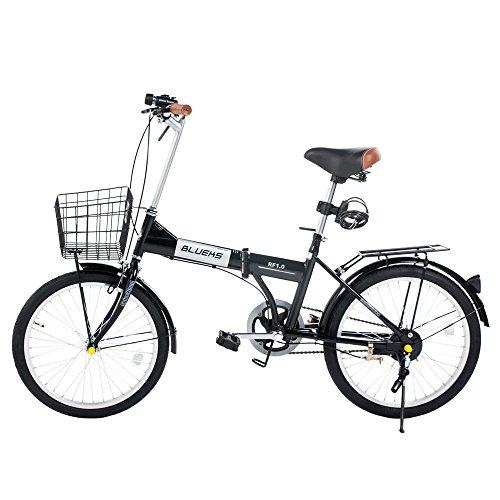 (SHINE WOOD)20インチシマ 折りたたみ自転車 カゴ付き 前後フェンダー (ブラック1)