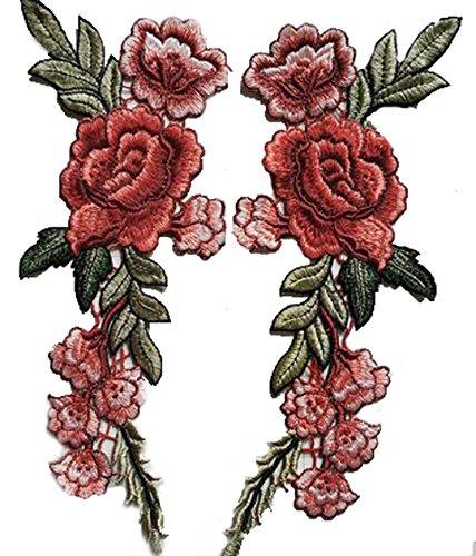 ふく福 薔薇 刺繍アイロンアップリケワッペン花 スパンコールモチーフ(2枚,赤)