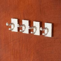 【Odoria ミニチュア雜貨】4点セット 1/12 メタル フック ハンガー コート/帽子/服ローブ ホルダー 浴室/キッチン ドールハウス