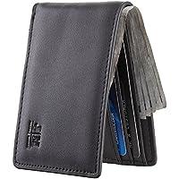 Joymon Mens Slim Minimalist Front Pocket Wallet Genuine Leather ID Window Card Case RFID Blocking