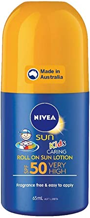 NIVEA SUN Kids Moisturising 4 Hour Water Resistant & Fragrance–Free Roll On Sunscreen Lotion. Made in Australia, SPF50+ 65ml