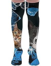 ソフト 65CM 靴下 オーバーニー ハイソックス ロングニーハイ 口ゴムゆったり ビジネスソックス 犬 猫 ネコ キティ ニャー 穴 3Dプリント 防寒 フットサポート付き フットカバー 美脚 脚長効果抜群 柔らかい