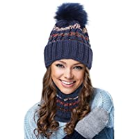 EGOGO Beanie Hat Scarf Set Snow Knitting Skull Hat Ski Fleece Lining Skull Beany Cap for Women E601-8