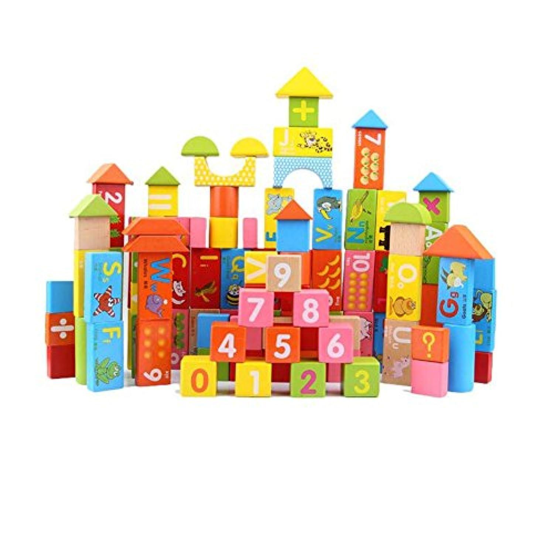 100ピース木製ブナパズル玩具、天然木製ビルディングブロックデジタル手紙動物カラフルなバランスブロックモデル学習おもちゃby loveqmall