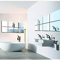 【25枚セット】壁貼りシール 鏡シール インテリア鏡貼 浴室 化粧 壁 装飾ミラー 安全 割れない 折れない 鏡効果 おしゃれ 薄型 空間節約 四角形 15 x15cm (25 0.2mm)