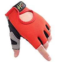 RXL フィットネスグローブスポーツトレーニング男女グローブ滑り止め耐摩耗性通気性ハーフフィンガーグローブ (Color : Red, Size : M)