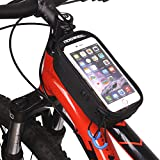 ArcEnCiel 自転車フレームバッグ スマートフォン操作可能フロントバッグ iPhone6/6S対応(ブラック)