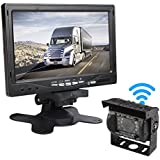 "CAR ROVER Wireless Backup Rear View Camera Monitor Kit with 7"" HD Display and 18 Waterproof Night Vision LED for Truck Van Caravan Trailer RV"