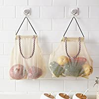 Haihuic 再利用可能なメッシュバッグオーガナイザー 果物と野菜吊り袋 洗濯室保管袋