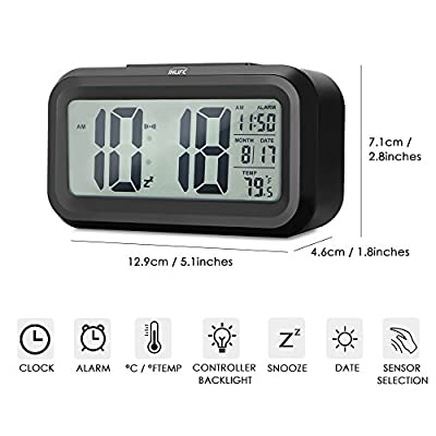 Digital Alarm Clock InLife Travel Alarm Clock with Large LCD Backlight Display, Thermometer, Month, Date, Dimmer, Snooze Function, Battery Operated Bedside Clock for Home, Office, Kids
