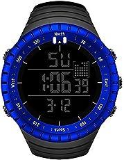 Senorsスポーツ腕時計 メンズデジタル時計電子LEDファッションアウトドアカジュアル防水腕時計 (ブルー)