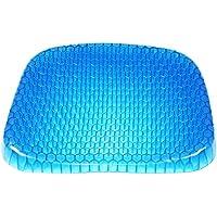 エッグシッター シートクッション エッグジェル シッター フォームシートクッション 滑り止めカバー 通気性 ハニカムデザイン オフィスチェア 車 車いす用 洗濯可能カバー (Blue)