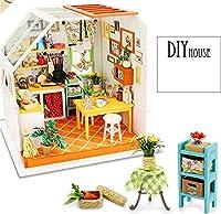 zPour ドールハウスキット ミニチュア DIY 家 面白い キッチン 照明付き キッチン用品 家具 ギフトアイデア ZP050-1