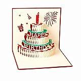 【貞恵】TEIKEI 立体ポップアップ グリーティングカード 3枚セット バースデー ケーキ