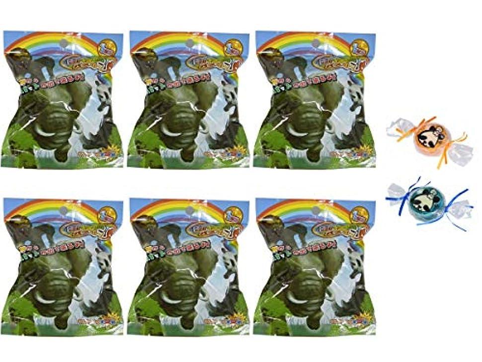 おじさん送金独特の【6個セット+ミニ石けん付】サンタン 動物園バスボール せっけんの香り 80g 【パンダ石けん2個付】