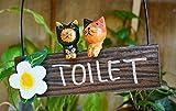 アジアン雑貨 バリ雑貨 ♪ネコのトイレプレート♪ おしゃれ インテリア エスニック ルームプレート 壁飾り 壁掛け オブジェ