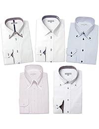 [ドレスコード101] ワイシャツ 5枚 セット 長袖 メンズ (形態安定) ドレスシャツ デザイン Yシャツ ぴったりが見つかる SHIRT-SET-30