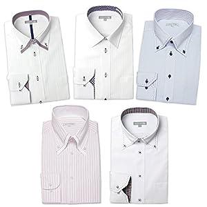 ワイシャツ 5枚セット ドレスシャツ 長袖(トップ芯加工) メンズ Yシャツ デザインシャツ セット LL