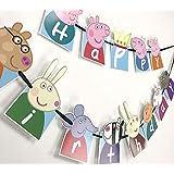 ハッピーバースデー ガーランド 誕生日 飾り パーティ お祝い 幼稚園 記念撮影 (Peppa)