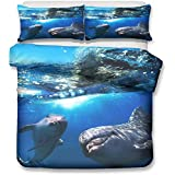 Duvet Cover Set for Single Double Super King Size Bed, 3D Marine Life Printed Microfiber Bedding Sets Duvet Set with Pillowcases and Quilt case (Super King-220x260cm,Ocean) zhaoyun (Color : Ocean)