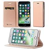 ALEVE iPhone8 Plus カバー iPhone7 Plus カバー 手帳型 薄型 軽量 全面保護 耐衝撃 ワイヤレス充電対応 スマホ カバー 高級PUレザー カード収納 マグネット スタンド機能付き 人気 アイフォンカバー (iPhone7 Plus/iPhone8 Plus, ローズゴールド)