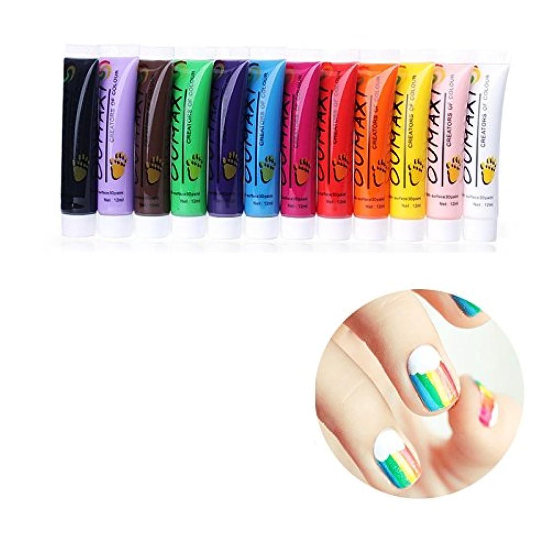 カポック頼む磁器12Pc Colors Nail Art Pen 3D Painting Draw Paint Tube Pigment Acrylic Kits Decorations UV Gel Draw Design DIY Pencil...