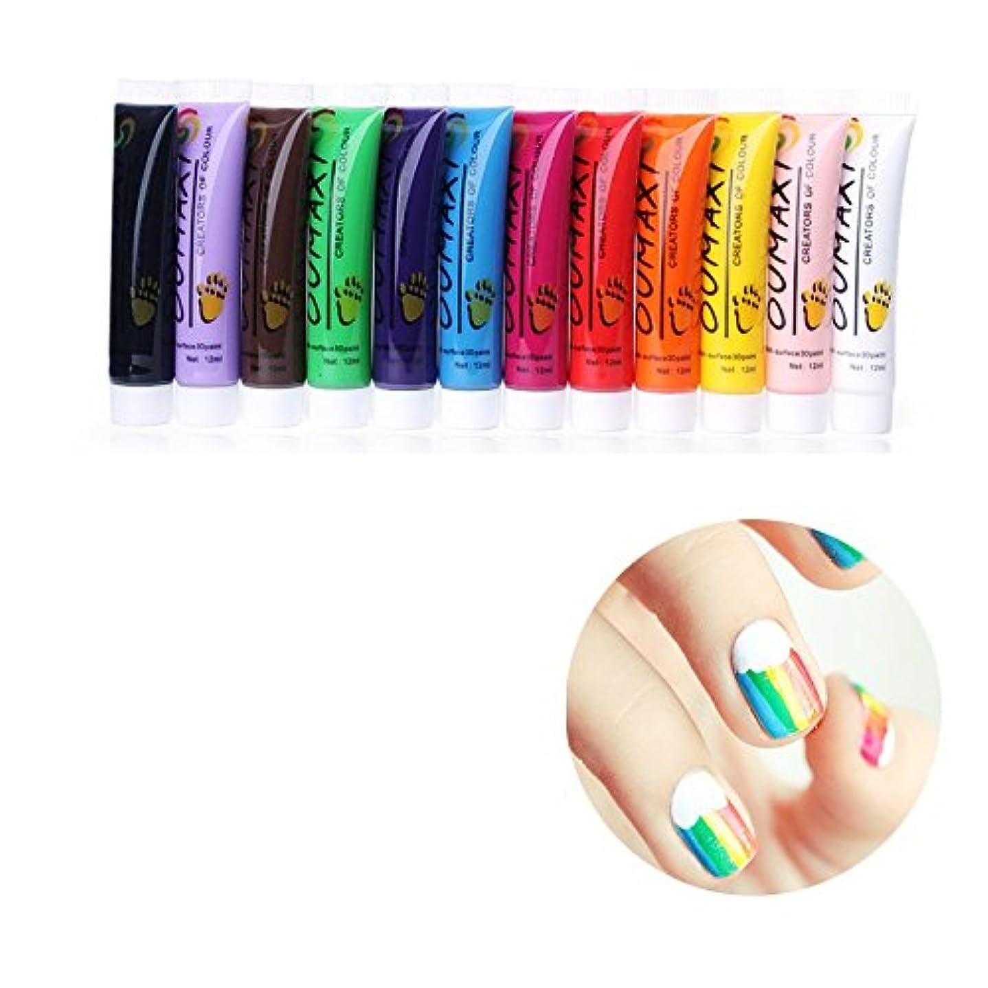原稿罹患率欠如12Pc Colors Nail Art Pen 3D Painting Draw Paint Tube Pigment Acrylic Kits Decorations UV Gel Draw Design DIY Pencil...