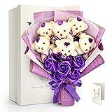 可愛いくまのぬいぐるみ石鹸花束(ベア6匹,ローズ5輪) ソープフラワー 石鹸花 バラ 花束+ベアブーケ 母の日 入学式 誕生日 祝い 記念日 プレゼント 鑑賞物 (紫の) FAUHAL