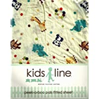 Kids Line Fitted Crib Sheet: Peek-a-boo Pals by KidsLine