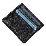 (ミケウィラ)Mcvilla 本革 レザー 6枚 カードケース 名刺入れ ビジネス 収納ウォレット 小銭入れ メンズ レディース ブラック