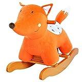 Labebe 木製の赤ちゃんロッキング馬の乗り物 - オレンジフォックス
