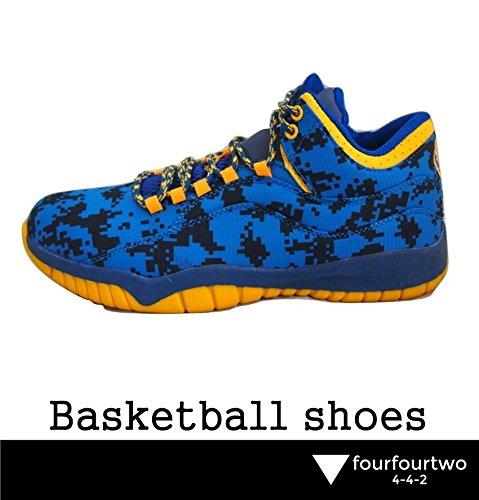 (フォーフォートゥー)4-4-2バスケットボールシューズミドルカットヒップホップシューズストリートバスケットシューズミリタリー風(ブルー26.5cm)