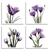 HLJ ART 4 Panel Elegant Tulip Purple Flower Canvas Print Wall Art Painting For Living Room Decor And Modern Home Decorations Photo Prints 30cm x 30cm (Wood Framed)