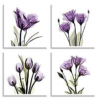 HLJ ART 4 Panel Elegant Tulip Purple Flower Canvas Print Wall Art Painting For Living Room Decor And Modern Home Decorations Photo Prints 30cm x 30cm (Wood Framed)