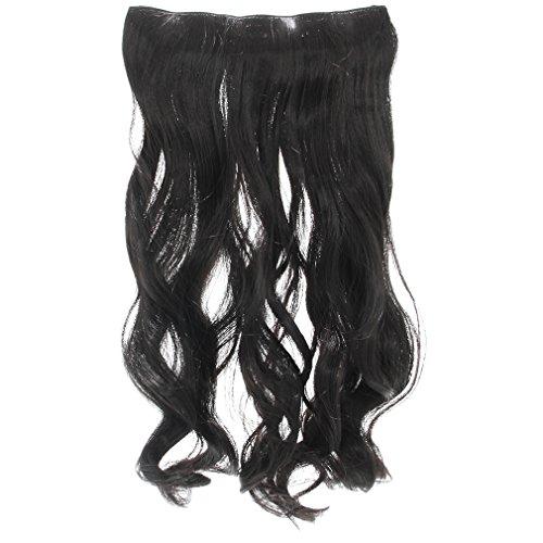 EOZY 女装用コスプレ レディース エクステ 5個クリップ付き 耐熱 ロング カール エクステ ウィッグ 60cm ブラック