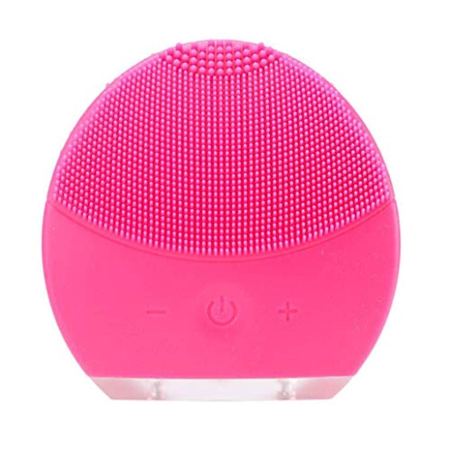 おもちゃにぎやかベット超音波振動美容機器洗浄器、皮膚の毛穴を最小限に抑えるマイクロダーマブレーション毛穴、USB 充電と防水,Rosered