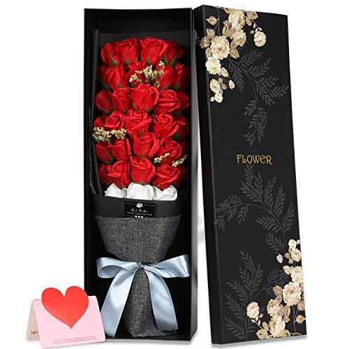 ソープフラワー バラ 花束 枯れない花 ギフト 誕生日 結婚祝い 結婚記念日 バレンタインデー 昇進 転居 新築お祝い 還暦 母の日 プレゼント フラワーボックス付き 33本 レッド