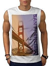 Wellcoda サン サンフランシスコ ファッション 男性用 S-5XL 袖なしTシャツ