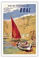 ポルトガルを訪問 - BOAC (英国海外航空) - ビンテージな航空会社のポスター によって作成された フランク・ウートン c.1951 - アートポスター - 76cm x 112cm