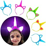 Unicorn Headband Pack Party Supplies Favours for Girls Kids Gifts,5 Pack Light Up Unicorn Headband with A Luminous Temporary Art Tattoo for Birthday Halloween Xmas Party Cosplay